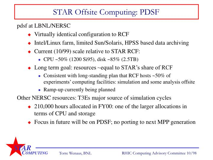 STAR Offsite Computing: PDSF