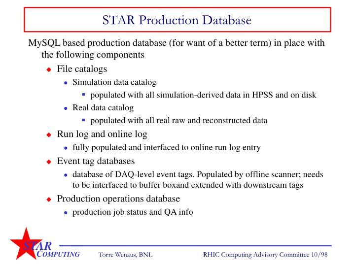 STAR Production Database