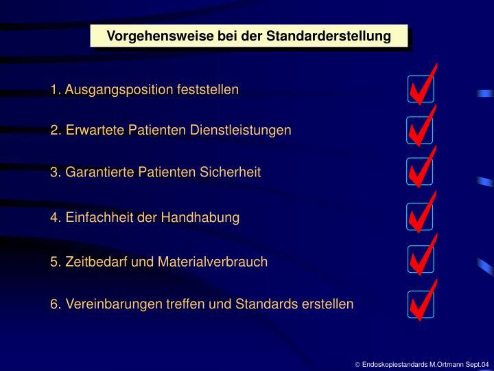 Vorgehensweise bei der Standarderstellung