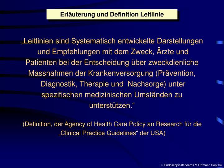 Erläuterung und Definition Leitlinie