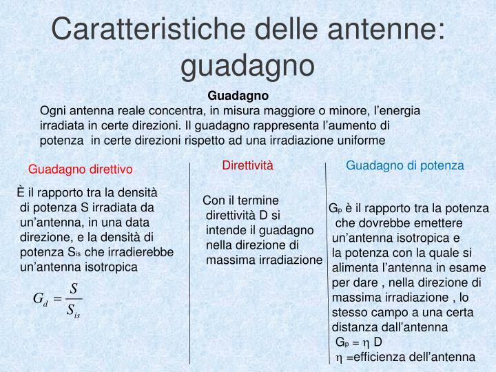 Caratteristiche delle antenne: guadagno