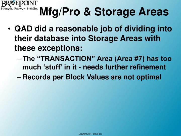 Mfg/Pro & Storage Areas