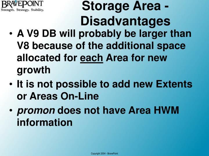 Storage Area - Disadvantages
