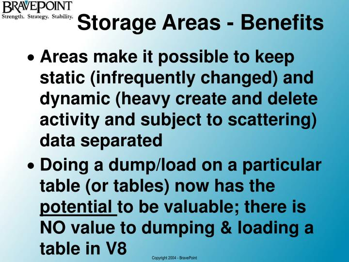Storage Areas - Benefits