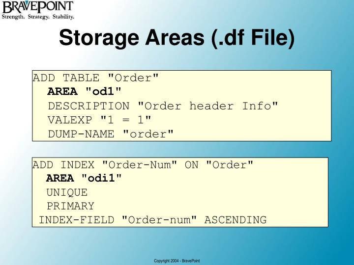 Storage Areas (.df File)