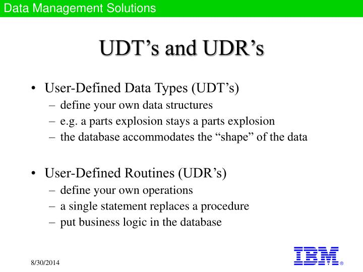 UDT's and UDR's