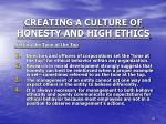 creating a culture of honesty and high ethics1