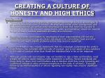 creating a culture of honesty and high ethics11