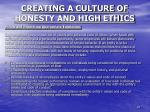 creating a culture of honesty and high ethics9