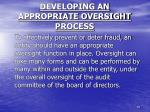 developing an appropriate oversight process1