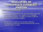 developing an appropriate oversight process6