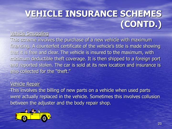 VEHICLE INSURANCE SCHEMES (CONTD.)