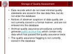 storage of quality assessment