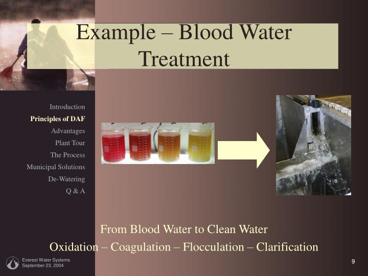Example – Blood Water Treatment