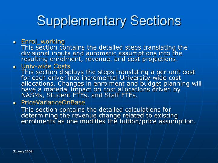 Supplementary Sections