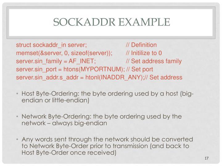 SOCKADDR Example