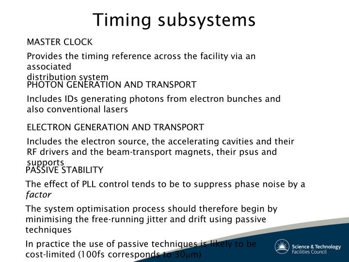 Timing subsystems