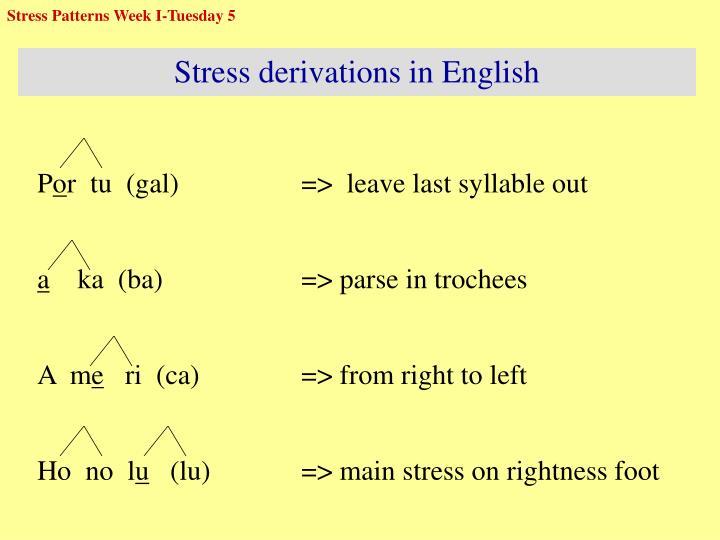 Stress Patterns Week I-Tuesday 5