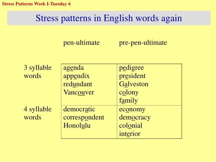 Stress Patterns Week I-Tuesday 6
