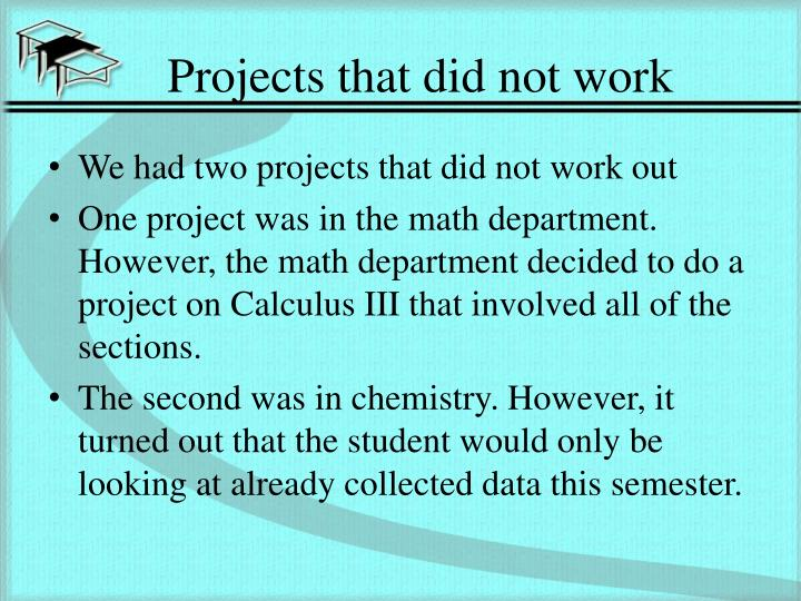 Projects that did not work