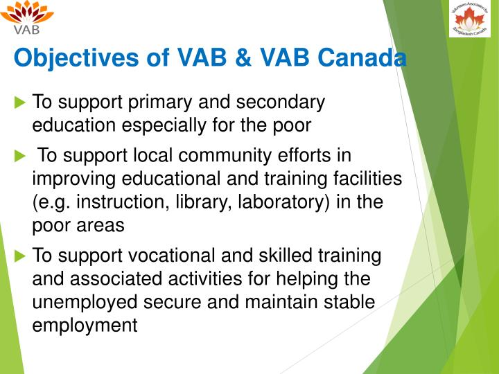 Objectives of VAB & VAB Canada