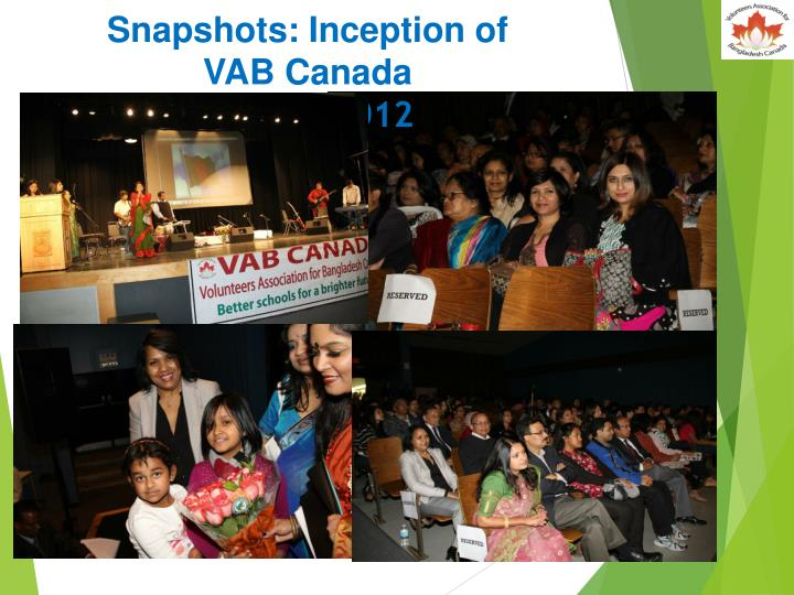 Snapshots: Inception of VAB Canada