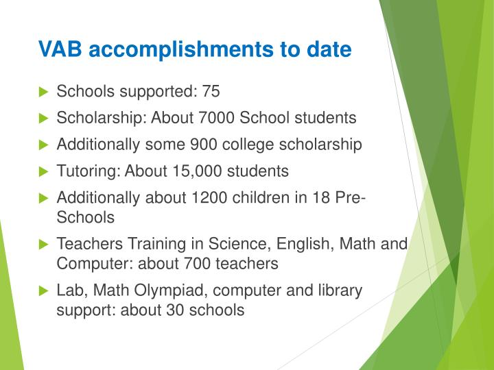 VAB accomplishments to date