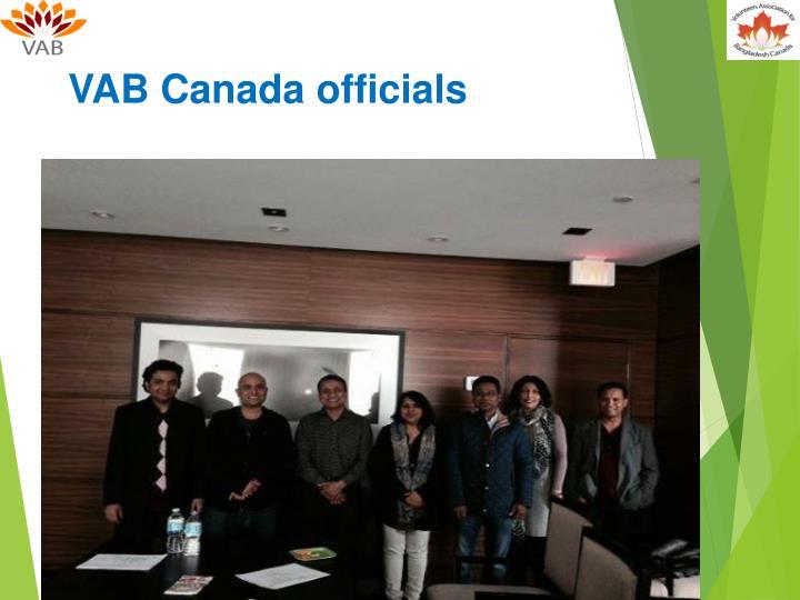 VAB Canada officials