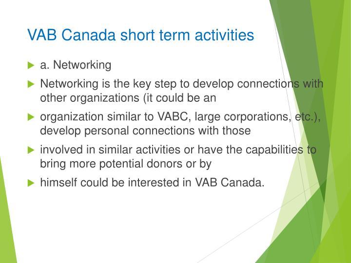 VAB Canada short term activities