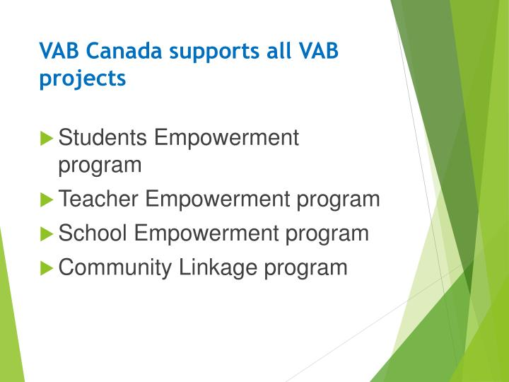 VAB Canada supports all VAB