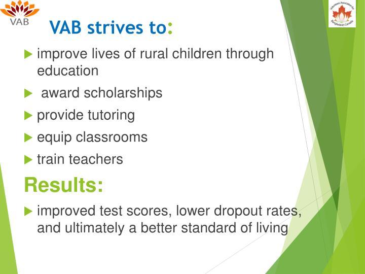 VAB strives to