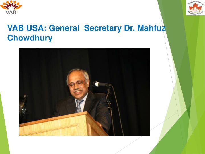 VAB USA: General  Secretary Dr.