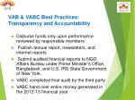 vab vabc best practices transparency and accountability
