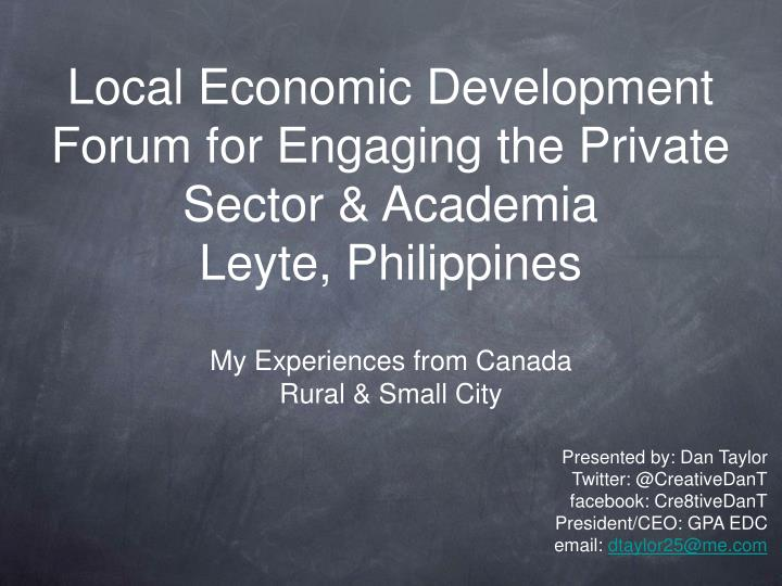 Local economic development forum for engaging the private sector academia leyte philippines