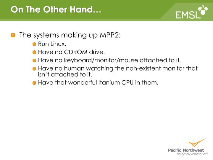 The systems making up MPP2: