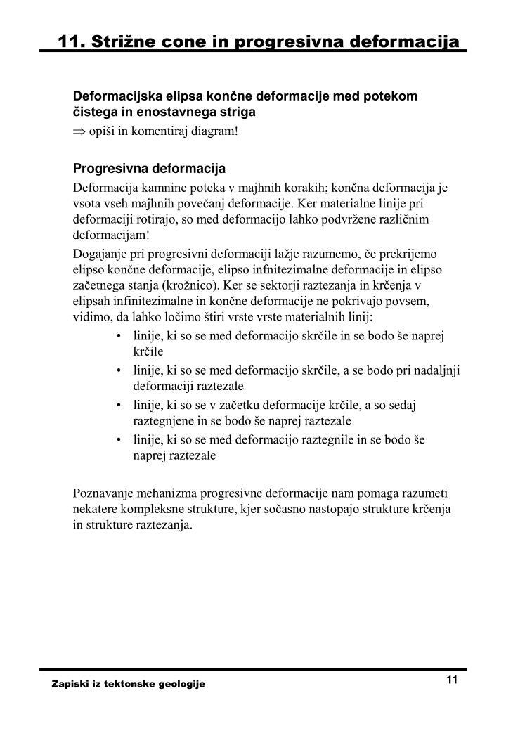 11. Strižne cone in progresivna deformacija