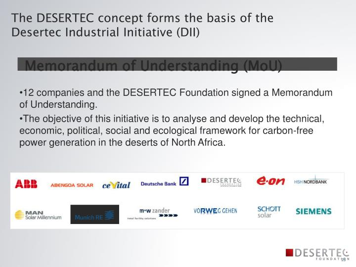 The DESERTEC concept forms the basis of the