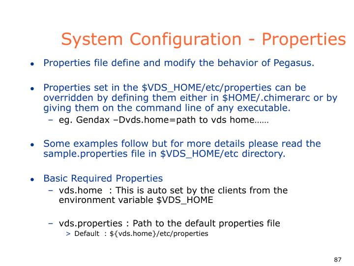System Configuration - Properties