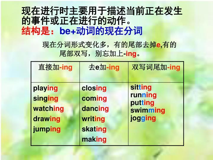 现在进行时主要用于描述当前正在发生的事件或正在进行的动作