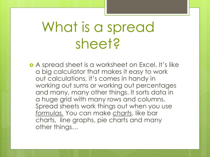 What is a spread sheet