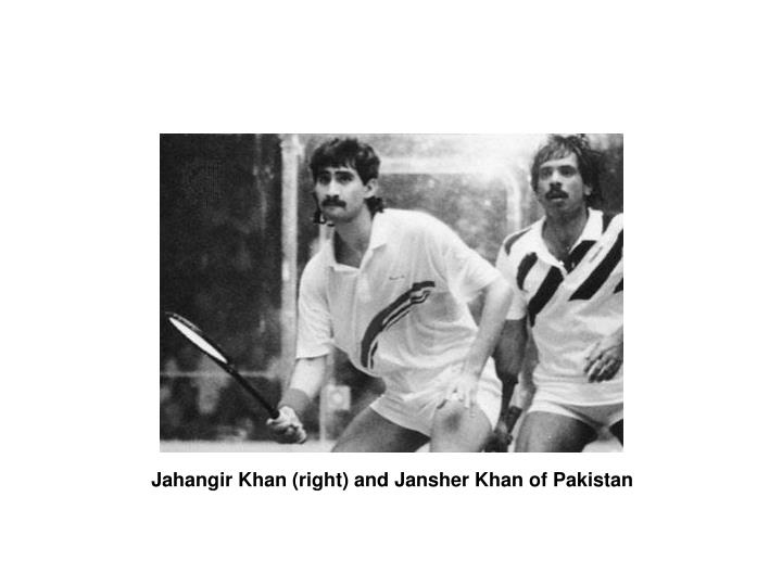 Jahangir Khan (right) and Jansher Khan of Pakistan
