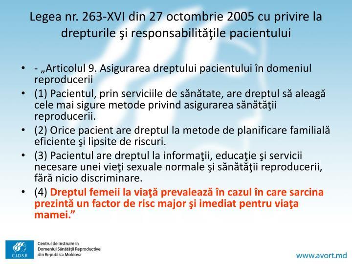 Legea nr. 263-XVI din 27 octombrie 2005 cu privire la drepturile şi responsabilităţile pacientului
