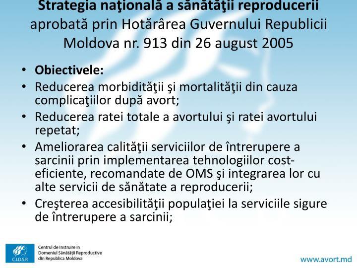 Strategia naţională a sănătăţii reproducerii