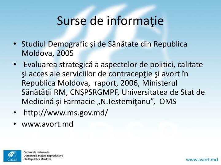 Surse de informaţie