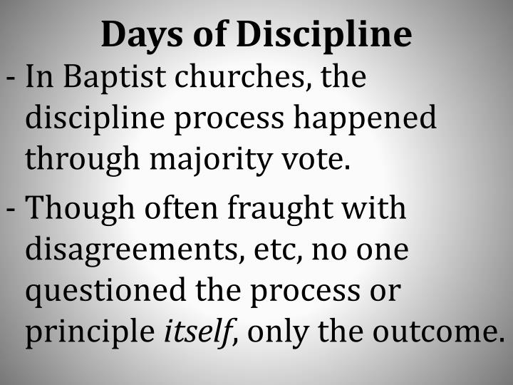 Days of Discipline