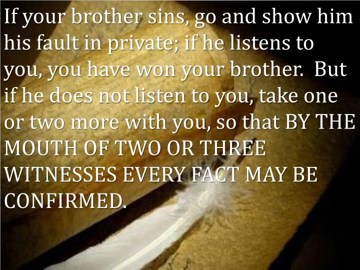 If your brother sins, go and show him his fault in private; if he listens to you, you have won your brother.  But if he does not listen to you, take one or two more with you, so that BY THE MOUTH OF TWO OR THREE WITNESSES EVERY FACT MAY BE CONFIRMED.