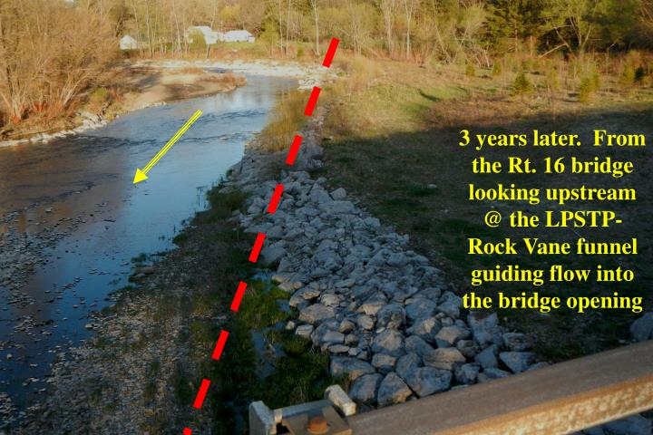 3 years later.  From the Rt. 16 bridge looking upstream @ the LPSTP-Rock Vane funnel guiding flow into the bridge opening