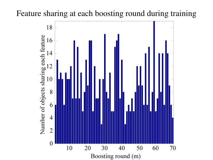 Feature sharing at each boosting round during training