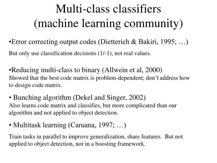 Multi-class classifiers
