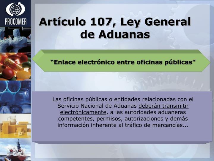 Artículo 107, Ley General de Aduanas